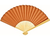 25 Terracotta Orange Paper Hand Fans for weddings, parties, outdoor events, DIY place cards, wedding fans, wedding hand fans, bamboo fans