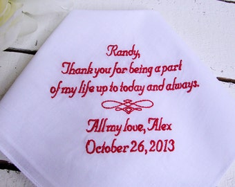 Personalized Step Father of the Bride Keepsake Handkerchief - Thread Born Memories
