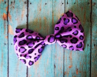Purple Leopard Hair Bow