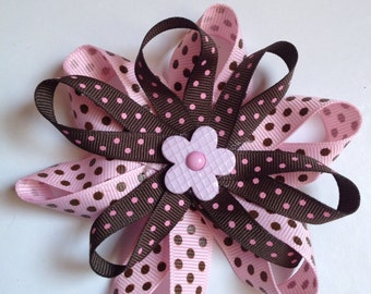 Brown and Pink Flower Hair Bow