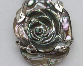 Abalone shell with Sterling silver  flower pendant
