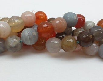 Faceted Multicolored Agate Beads 14mm 16""