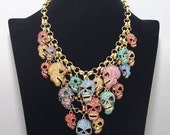 Luxury fashion diamond skull necklace,beaded jewelry,bubble necklace,bridesmaid gifts,Jewelry,wedding necklace