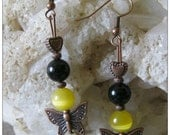 Beautiful Copper Earrings with Black Onyx & Yellow Cateye