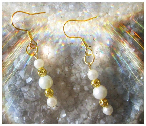 Handmade Gold Hook Earrings with White Pearls by IreneDesign2011