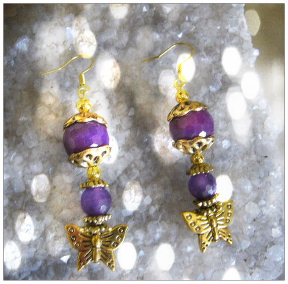 Handmade Gold Hook Earrings with Purple Jade, Amethyst & Butterfly by IreneDesign2011