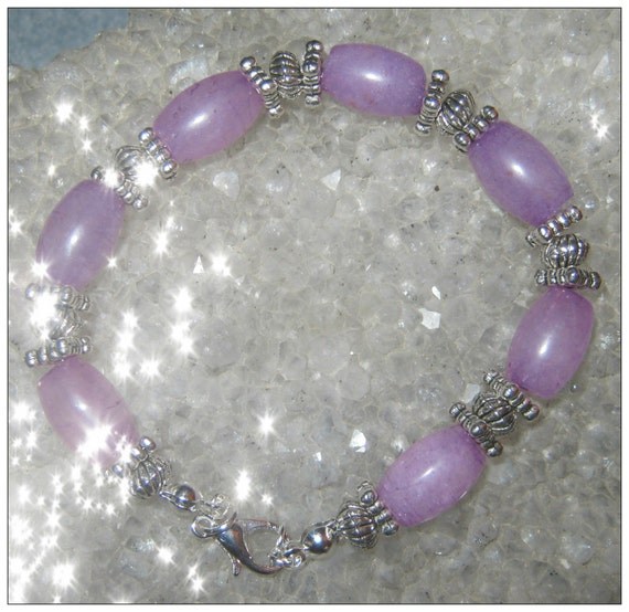 Handmade Silver Bracelet with Amethyst Rice by IreneDesign2011