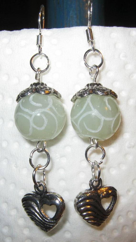 Handmade Silver Hook Earrings with Carved Old Jade & Heart by IreneDesign2011