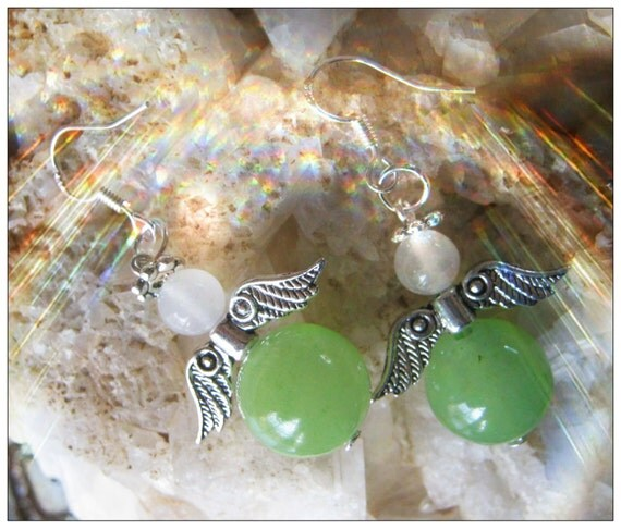 Handmade Silver Guardian Angel Earrings with Green Jade & White Opal by IreneDesign2011