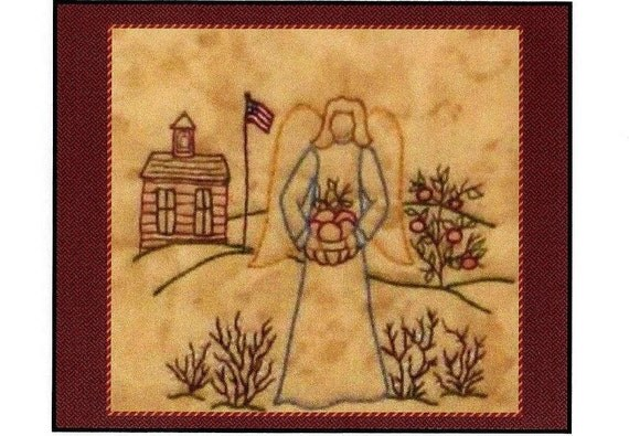 Redwork angels september redwork hand embroidery for Wellington house designs
