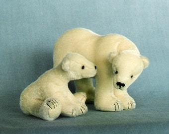 Teddy Bear pattern and Illustrated Instructions for Polar Mom & Cub, a pair of miniature Polar Bears (downloadable PDF)