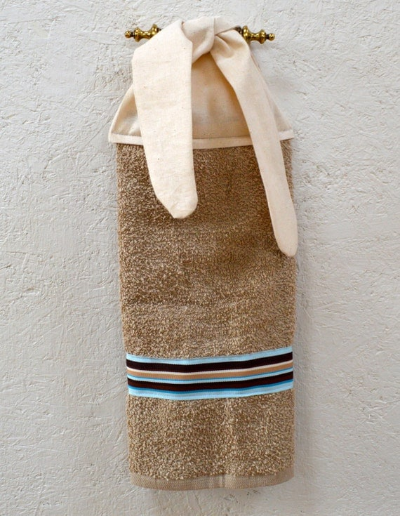 Bathroom hand towel hand towel bathroom decor tan by for How to tie towels in bathroom