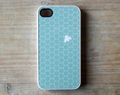 iPhone case Mint iPhone 4/4S case aqua bee - beehive white and mint