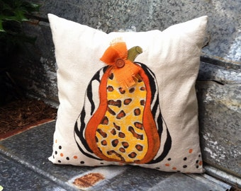 Whimsical, Fun Pumpkin, Hand-painted, Fall, Holidays, Halloween, Indoor/Outdoor, Pillow Cover, No. 341