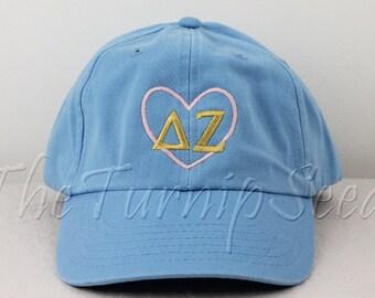 Delta Zeta Sorority Baseball Cap - Pink Heart with Greek Letters