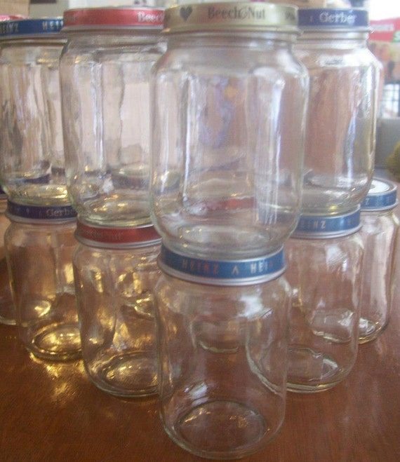Craft Ideas Empty Jam Jars: 15 Empty 6 Oz Baby Food Jars W/Lids CLEAN No Labels With