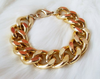 Oversize Chunky Gold Bracelet. A Gold Statement Chain Curb Bracelet. Retro and Stunning.