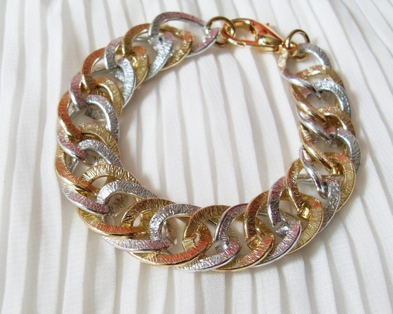 Classic Two Tone Gold Silver Chain Bracelet. A Chunky Matt Silver & Gold Chain Bracelet. Unique and Timeless.