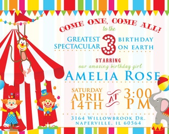Birthday CIRCUS  Invitation (DIgital File Print)