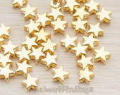 BDS938-G // Glossy Gold Plated Star Metal Bead, 6 Pc