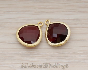 FST001-MG-RW // Matte Gold Plated Framed Red Wine Glass Stone Pendant, 2 Pc