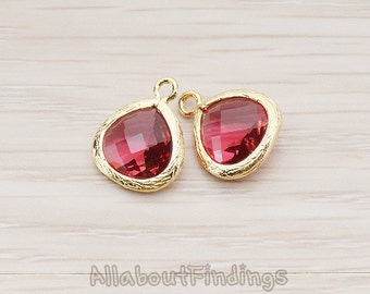 FST006-G-RU // Glossy Gold Plated Framed Ruby Stone Pendant, 2 Pc