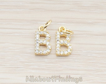 PDT150-B-G // Glossy Gold Plated Cubic Zirconia Setting Initial Pendant, 1Pc