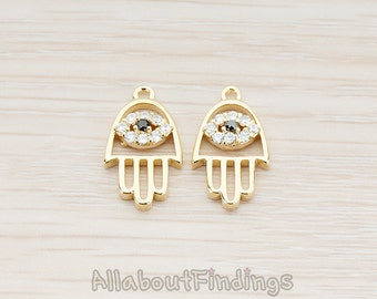 PDT211-G // Glossy Gold Plated Hamsa Hand with Clear Crystal Cubic Zirconia Evil Eye Pendant, 2 Pc