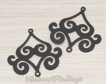 PDT240-B // Black Jewelry Paint Coated Filigree Chandelier Connector and Pendant, 2 Pc