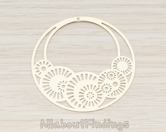 PDT244-G // Glossy Gold Plated Filigree Sundial Hoop Round Pendant, 2 Pc