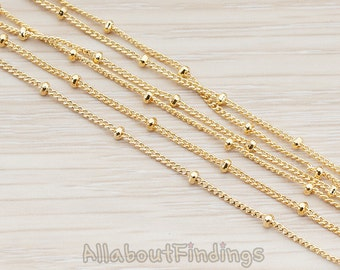 CHN013-G // Glossy Gold Plated Flattened Curb Ball Chain, 1 Meter.
