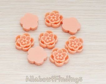 CBC028-CO // Coral Colored Chrysanthemum Flower Flat Back Cabochon, 4 Pc