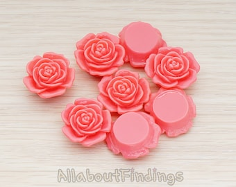 CBC038-HP // Hot Pink Colored Mary Rose Flower Flat Back Cabochon, 4 Pc