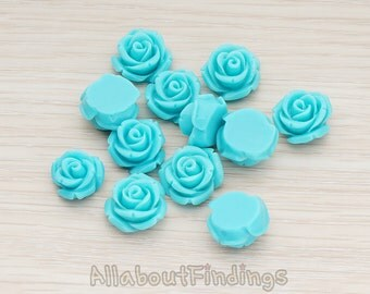 CBC141-01-TU // Turquoise Colored Curved Petal Rose Flower Flat Back Cabochon, 6 Pc