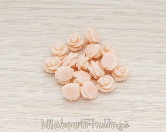 CBC149-PE // Peach Colored Carved Rose Flower Flat Back Cabochon, 8 Pc