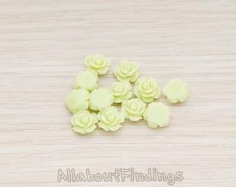 CBC157-04-LG // Lime Green Colored XSmall Angelique Rose Flower Flat Back Cabochon, 8 Pc