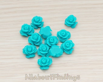 CBC191-01-TL // Teal Colored Small Bloom Rose Flower Flat Back Cabochon, 6 Pc