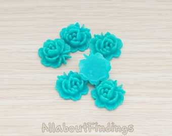 CBC503-TL // Teal Colored Flat Rose Flower Back Cabochon, 6 Pc