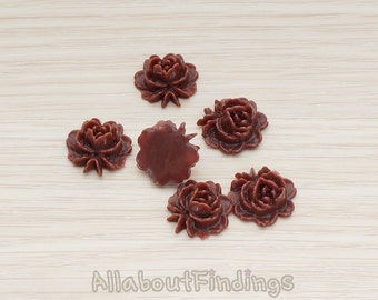 CBC503-CH // Chocolate Colored Flat Rose Flower Back Cabochon, 6 Pc