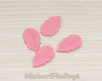CBC508-HP // Hot Pink Colored Flat Leaf Flat Back Cabochon, 6 Pc