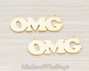 """CNT096-MG // Matte Gold Plated """"OMG"""" Connector, 2 Pc"""
