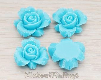 CBC200-01-TU // Turquoise Colored Narcissus Flower Flat Back Cabochon, 4 Pc