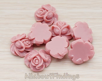 CBC214-01-DIP // Dark Indian Pink Colored Full Bloom Rose Flower Flat Back Cabochon, 4 Pc