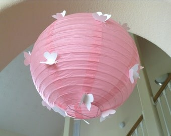 "14"" Pretty in Pink, butterfly paper lantern, butterfly party, butterfly birthday, butterfly decor, butterfly hanging, hanging ceiling decor"