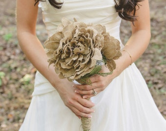 Shabby Chic Burlap Wedding Bouquet