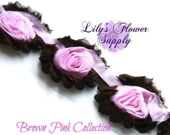 1/2 Yard - Shabby Flower Trim - Shabby Rose trim - Shabby Flower Rose Trim - Chiffon Flower - Brown - Pink - Shabby Chic - Rose Trim