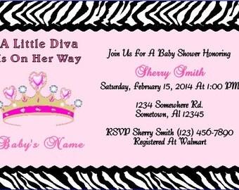 Diva Zebra Crown Baby Shower Invitation~Personalized~Digital~Printable~Pink