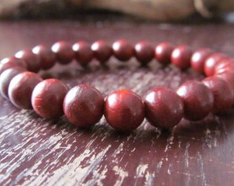 Rosewood Bracelet, Wood Bracelet, Wrist Mala, Yoga Bracelet, Energy Bracelet, Meditation Bracelet, Red Mens Bracelet, Gift for Men