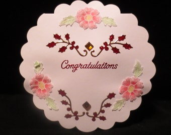 "Scallop edge round ""Congratulations"" card with parchment flowers"