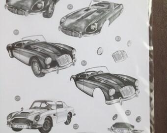 Black and white classic cars 3-D die-cut decoupage sheet
